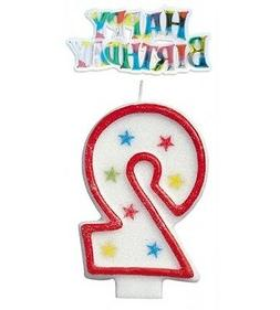 Glitter Number 3 Birthday Candle & Happy Birthday Cake Toppe