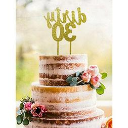 Gold DIRTY 30 Acrylic Cake Topper