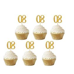 Gold Glitter 80th Birthday Cupcake Toppers Party Supplies De