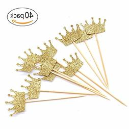 Gold Glitter Crown Cupcake Toppers Cake Decoration for First