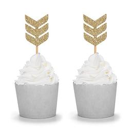 Gold Glitter Tribal Arrow Cupcake Toppers Handcrafted Boho P