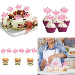 HZOnline Cupcake Toppers Glitter Crown Princess Cake Picks D