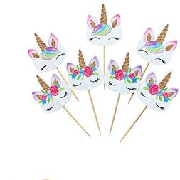 Kapoklife 1 11 48 Rainbow Cupcake Picks, Double Sided Unicor