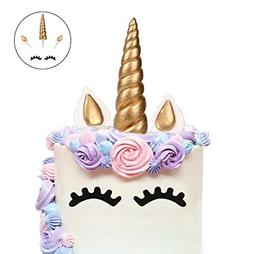 LUTER Cake Topper Handmade Gold Unicorn Birthday Toppe