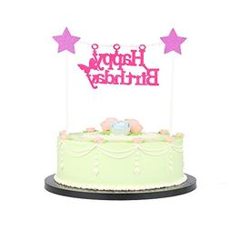 LXZS-BH Birthday Party Supplies - Happy Birthday Cake Flags,