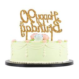 LXZS BH Gold Glitter Acrylic Happy Birthday Cake TopperParty