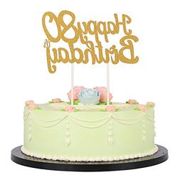 LXZS BH Gold Glitter Happy Birthday 80th Cake TopperParty C