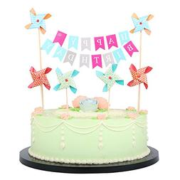 LXZS BH LVEUD Happy Birthday Cake Topper Banner With Small W