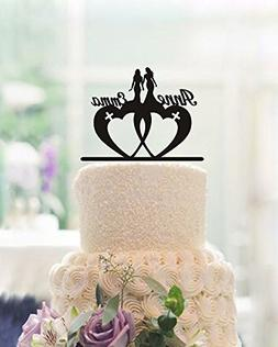 Lesbian Wedding Cake Toppers Two Brides Personalized Name wi