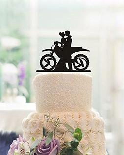 Motorcycle Wedding Cake Toppers Bride and Groom Personalized