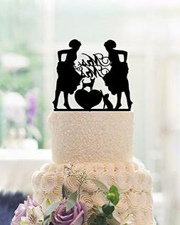 Mrs and Mrs Cake Topper Lesbian Wedding Cake Toppers 2 Bride