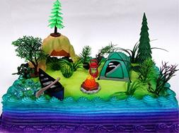 Nature Scene CAMPING 20 Piece Birthday CAKE Topper Set, Feat