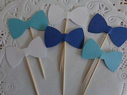 Navy Blue Light Blue and White Bow Tie Cupcake Toppers - Foo