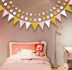 Pink White and Gold Party Decoration Supplies, Paper Garland
