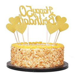 QIYNAO Gold Glittery Happy Birthday Cake Toppers And Love St