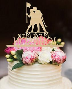 Rustic Wood Wedding Cake Toppers Bride and Groom Kiss,Golf W