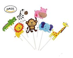 Sinrier Cute Jungle Animals Cupcake Toppers for Kids Baby Sh
