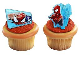 Spiderman Web-Slinger Rings, 12 Pack Cupcake Toppers, Two De
