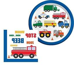 Traffic Jam Birthday Lunch Napkins & Plates Party Kit for 16