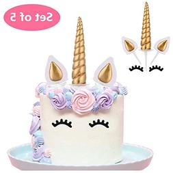 Unicorn Cake Topper, Reusable Gold Unicorn Horn,Ears and Eye