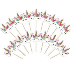 Unicorn Cupcake Toppers, Double Sided Unicorn Horn Cake Deco