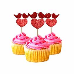 Valentine's Day Cupcake Topper cardstock Color Red 12 pc Pac