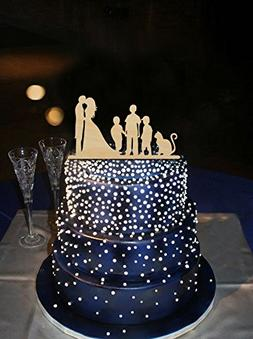 Wedding Cake Toppers Bride and Groom with 3 Boys and Cat,Fam