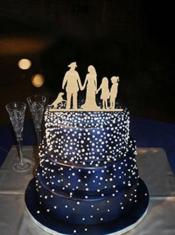 Wedding Cake Toppers Bride and Groom with Girls and Dog,Fami