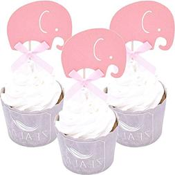 ZEALAX Set of 18 Elephant Cupcake Toppers Baby Shower Gender