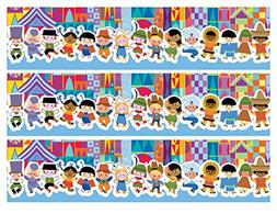 It's a Small World Edible Frosting Image Cake Strip Borders-