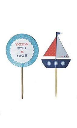 Ahoy It's A Boy! Cupcake Toppers
