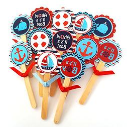 Ahoy It's a Boy Nautical Cupcake Toppers - Children Sea Ocea