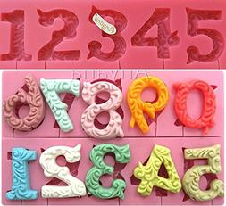 Anyana Alphabet Number 0-9 3d Silicone Mold with Lollipop Ho