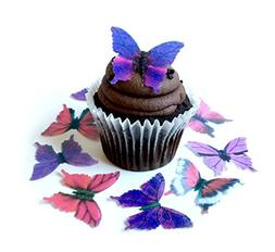 Assorted Purple Pink Wafer Paper Butterflies 1.75 Inch for D