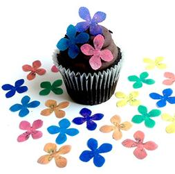 Assorted Rainbow Color Wafer Paper Flowers 1 Inch for Decora
