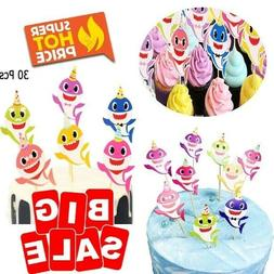 30 Baby Shark Cake Cupcake Topper Party Supplies 1st Happy B