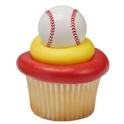 BASEBALL RINGS PARTY CUPCAKE TOPPERS CAKE DECORATIONS SPORTS