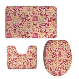 iPrint 3 Piece Bath mat Set,Birthday Decorations Kids,Presen