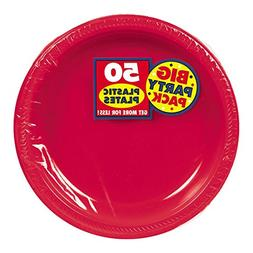 Big Party Pack Apple Red Plastic Plates, 50 Ct.