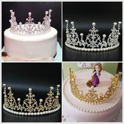 Birthday Cake Pearl Rhinestone Crown Decorating Bride Tiaras