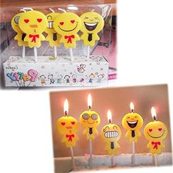 SUJING Birthday Candle Boxes Set Of 5 Emoji
