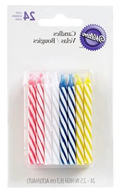 Wilton Birthday Candles, 2.5-Inch, Assorted Striped Spirals,