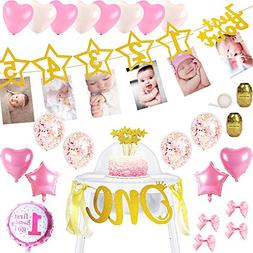 FunDeco Party 1st Birthday Girl Decorations | Gold Photo and