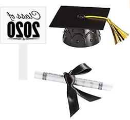 Black Mini Graduation Hat Cake Decoration Topper with Sign a