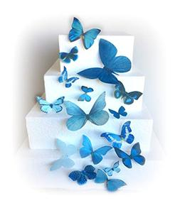 Blue Assorted Sizes Wafer Paper Butterflies for Decorating D