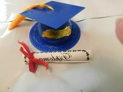 Blue Graduation Cap Hat Cake Topper & Diploma  Decorations N
