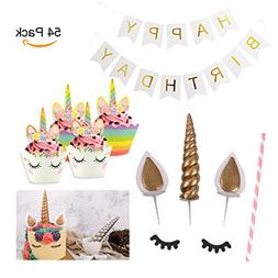 BQUQO Unicorn Cupcake Toppers Wrappers Decoration Kit Double