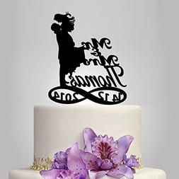 Buythrow Bride and Groom Silhouette Wedding Cake Topper, Cus