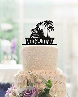 buythrow Country Wedding Cake Toppers Bride and Groom on Mot