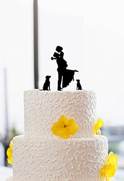buythrow Romantic Wedding Cake Toppers Bride and Groom with